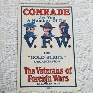 1920s VFW Gold Stripe Membership Application